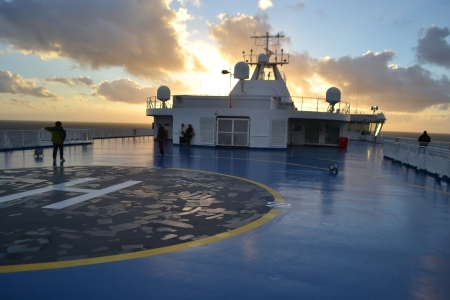 helideck: Neutral water, Baltic Sea - November 3, 2013: Deck of modern ferry boat. Editorial