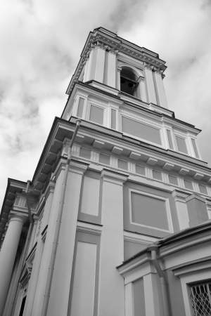 classicism: Belfry of Alexander Nevsky Lavra, ancient monastery in Classicism style in center of St.Petersburg, Russia. Black and white. Stock Photo