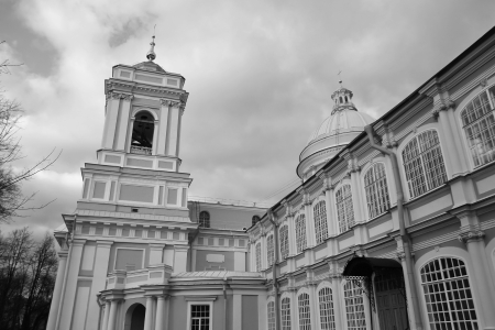 classicism: Alexander Nevsky Lavra, ancient monastery in Classicism style in center of St.Petersburg, Russia. Black and white. Stock Photo