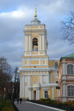 classicism: Belfry of Alexander Nevsky Lavra, ancient monastery in Classicism style in center of St.Petersburg, Russia. Stock Photo