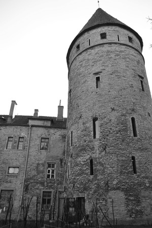 tallin: Tower of town wall of Tallinn, Estonia. Black and white.