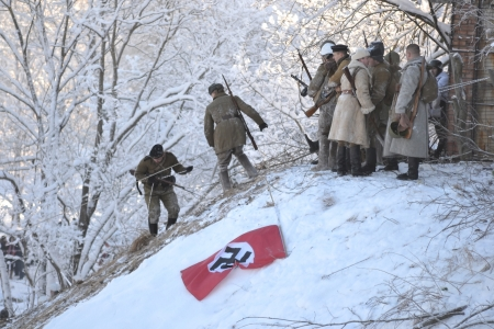 infantryman: Krasnoe Selo, Russia - January 19, 2014: Soviet soldiers. Reconstruction of the battles of the second world war Editorial