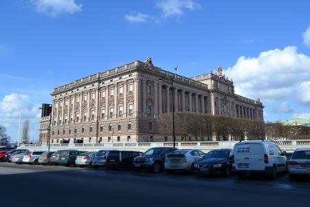Stockholm, Sweden - April 11, 2013: View of Riksdagen (Swedish Parliament) in Stockholm., Sweden.