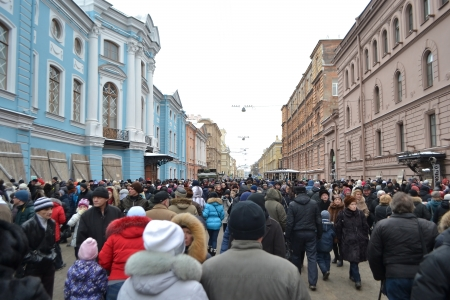 siege: St.Petersburg, Russia - January 26, 2014: The Street Life. Cultural project for the 70th anniversary of the liberation of the Nazi blockade of Leningrad on Italian street in St. Petersburg.