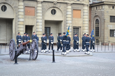 Stockholm, Sweden - April 11, 2013: Ceremony changing of the Sweden Royal guard.