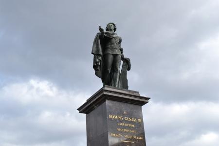 gustaf: Stockholm, Sweden - April 11, 2013: Statue of king Gustaf III in Stockholm, Sweden.