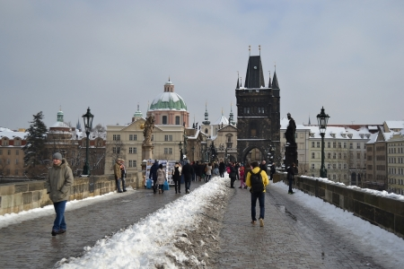 Prague, Czech Republic - February 24, 2013: Ancient Charles Bridge in the center of Prague.