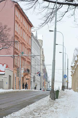 Prague, Czech Republic - February 24, 2013: Street in center of Prague at winter.