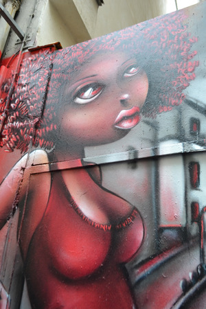 frenchwoman: Paris, France - January 6, 2013: Street Art in Paris. Portrait of African Frenchwoman. Editorial