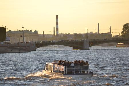 pleasure craft: St.Petersburg, Russia - September 7, 2013: Pleasure craft on the river Neva in St Petersburg.