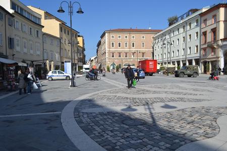 martiri: Rimini, Italy - February 21, 2014: Piazza Tre Martiri in the historic part of Rimini.