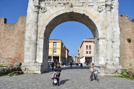 e 27: Rimini, Italy - February 21, 2014: Arch of Augustus in Rimini. It was built in 27 BC. e. Editorial