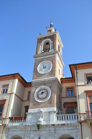 rimini: Old medieval Clock Tower in Rimini (Torre dell` Orologio), Italy.