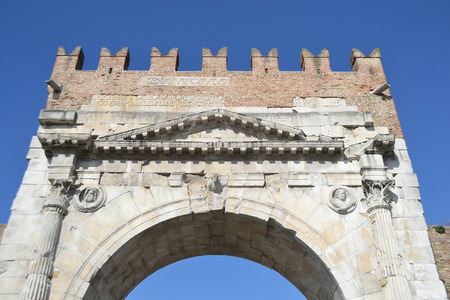 e 27: Arch of Augustus in Rimini, Italy. It was built in 27 BC. e.