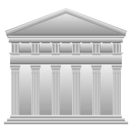Doric Greek temple on white background. Vector