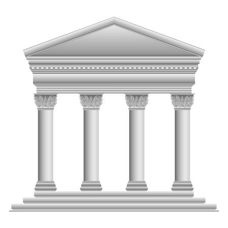Corinthische Griekse tempel op een witte achtergrond.