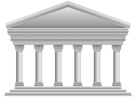 白い背景の上のコリント式のギリシャの寺院。