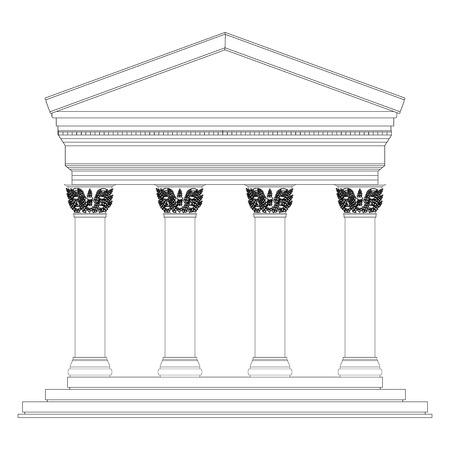 corinthian: Corinthian temple on white background.