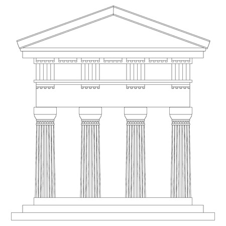 Doric temple on white background. Vector