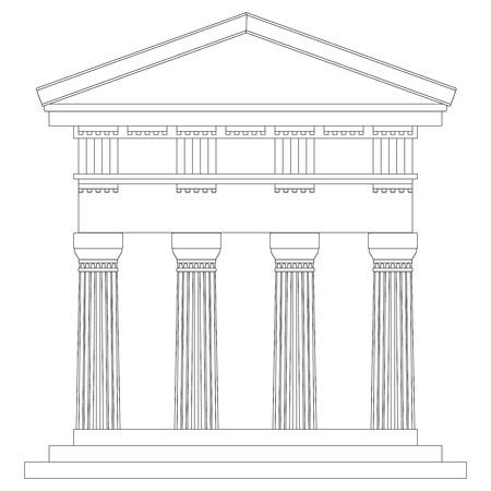 doric: Templo d�rico en el fondo blanco.