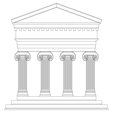 roman empire: Ionic temple on white background.