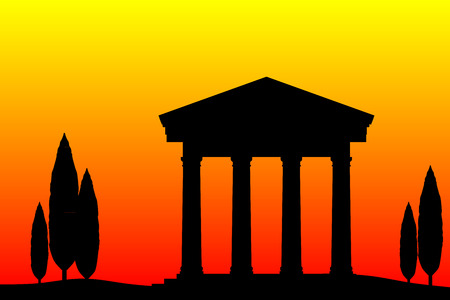 roman empire: Ancient temple at the sunset background.
