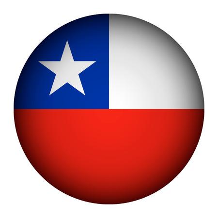 bandera de chile: Bot�n del indicador de Chile sobre un fondo blanco. Ilustraci�n del vector.