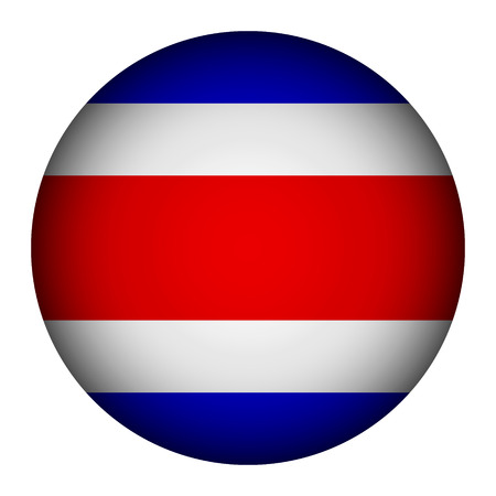 Costa Rica flag button on a white background. Vector illustration. Vector