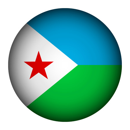 Djibouti flag button on a white background. Vector illustration. Illustration