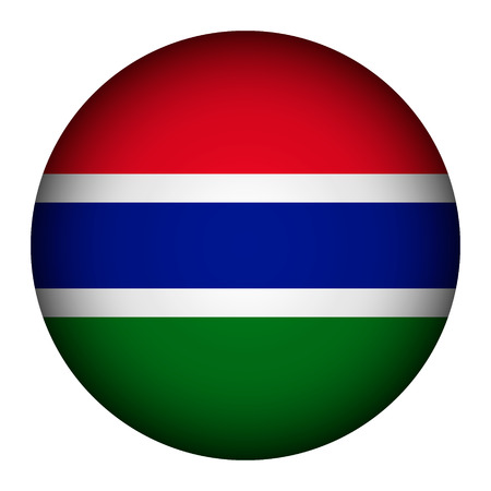 Gambia flag button on a white background. Vector illustration.