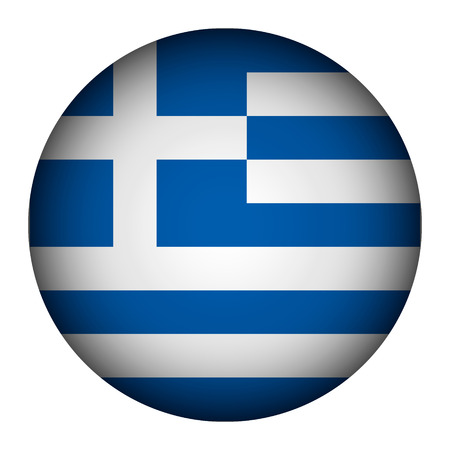 Greece flag button on a white background. Vector illustration. Vector