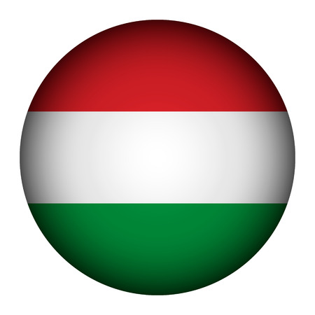 Hungary flag button on a white background. Vector illustration. Vector