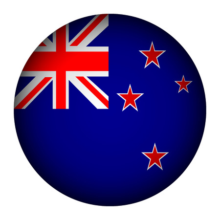 New Zealand flag button on a white background. Vector illustration. Vector