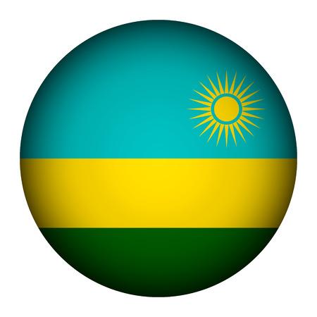 rwanda: Rwanda flag button on a white background. Vector illustration.