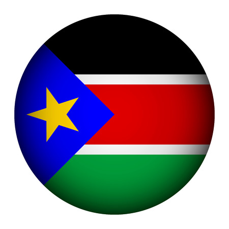sudan: South Sudan flag button on a white background. Vector illustration.