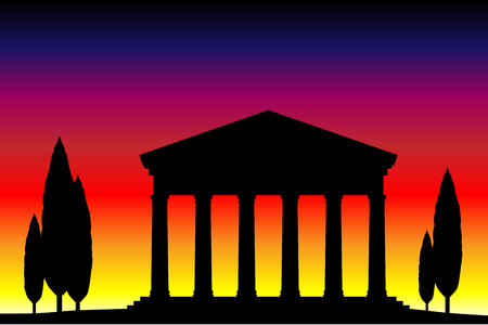 antigua grecia: Antiguo templo en el atardecer de fondo. Vectores