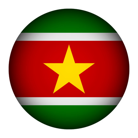 suriname: Suriname flag button on a white background. Vector illustration.