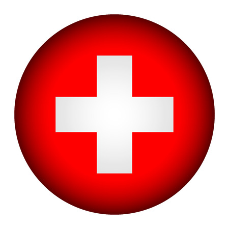 Swiss flag button on a white background. Vector illustration.