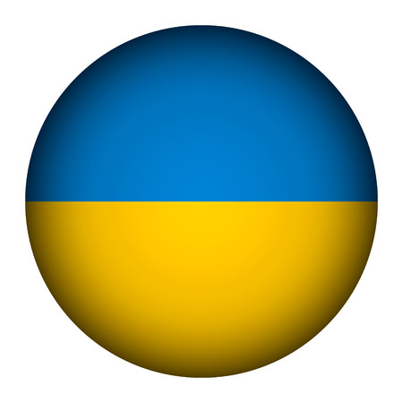 Ukraine flag button on a white background. Vector illustration. Stock Vector - 26616810