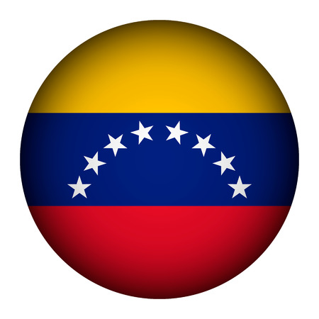Venezuela flag button on a white background. The colors of the original. Vector illustration. Vector