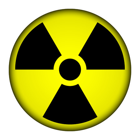 nuclear fission: Radiation round button illustration. Illustration
