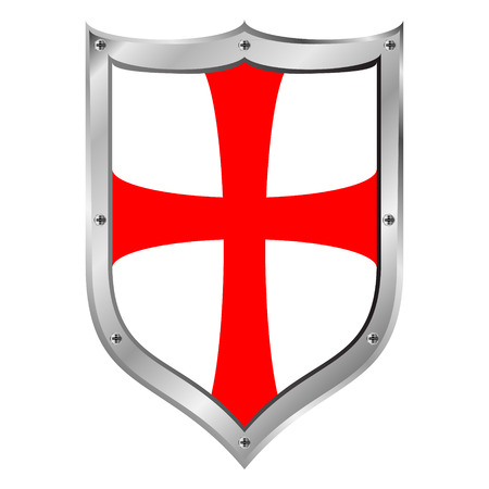 Knights Templar shield on white background.
