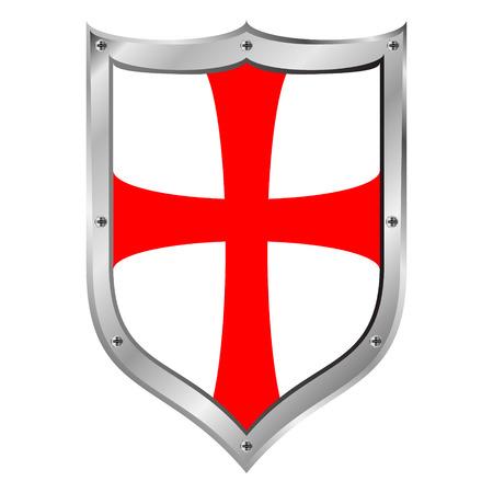 rycerze: Templariusze osłony na białym tle. Ilustracja