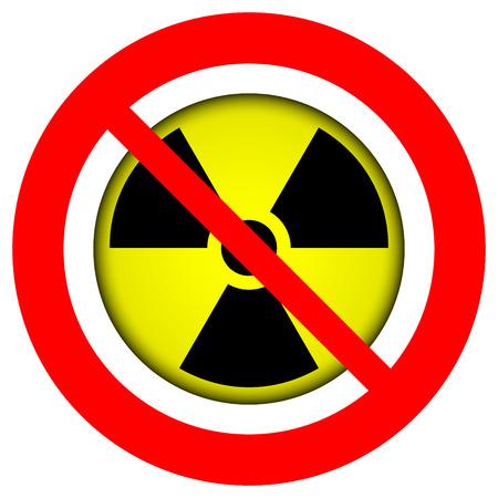irradiation: No atom sign on white background. Illustration