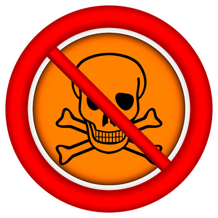 chemical weapons: No chemical weapons sign on white background.