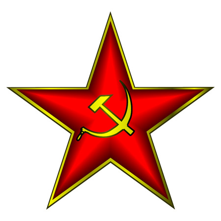 hammer and sickle: Communist red star with hammer and sickle on white Illustration