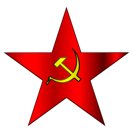 hammer and sickle: red star with hammer and sickle on white