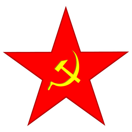 sickle: Communist red star with hammer and sickle on white Illustration