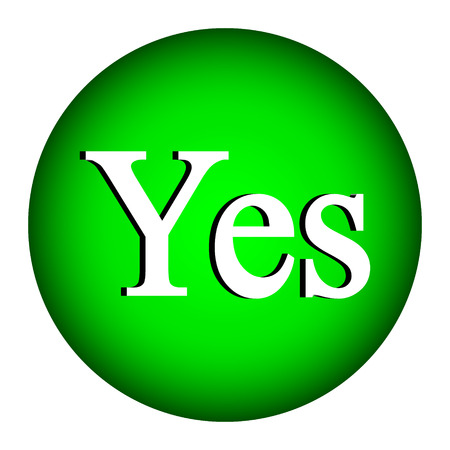 expressing positivity: Yes button on white background. Illustration