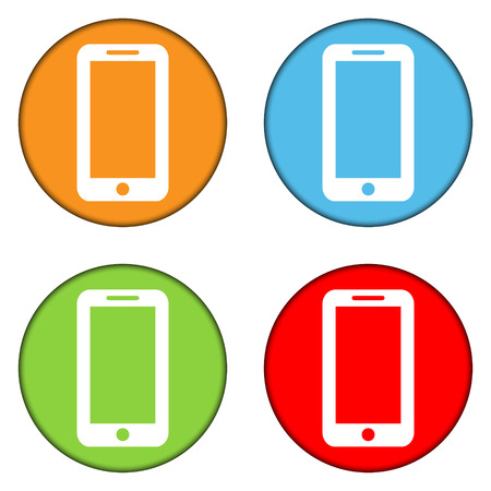 Phone buttons set on white background Vector